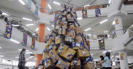 Boxes Christmas tree from PETRA University