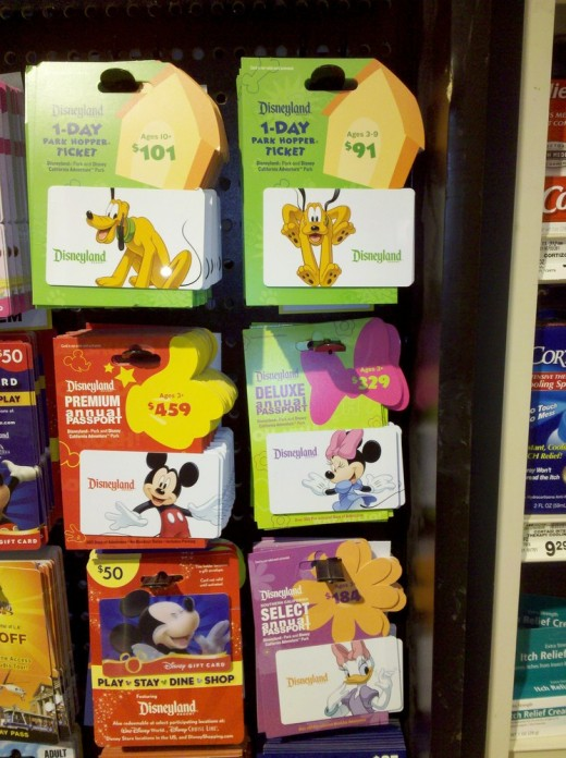 2011 Disneyland Ticket Prices shown on Gift Cards