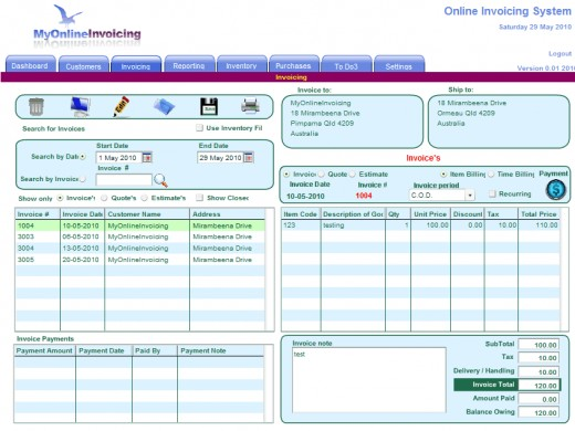 Invoicing Screen of the online invoicing system