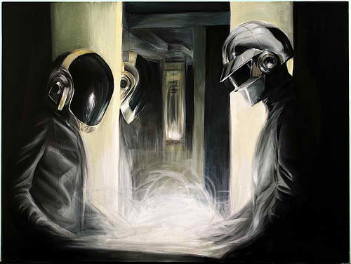 This is my kind of music. French musicians Guy-Manuel de Homem-Christo and Thomas Bangalter are DAFT PUNK and they cameo as electronic-music DJs in Tron Legacy.
