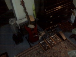 A red Moog E1 Guitar With 3 MoogerFoogers and an Expression Pedal. This axe is the greatest of electric guitars since the first electric guitar around 1957.