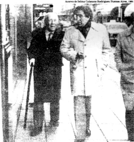 Argentinian writer Jorge Luis Borges (left), with Uruguayan writer Emir Rodriguez Monegal in 1984: history is remembering, forgetting