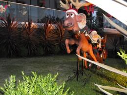 Ruldoph and Santa taking off again.