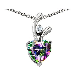 1.95 cttw 925 Sterling Silver 14K White Gold Plated Genuine Heart Shaped Mystic Topaz Pendant