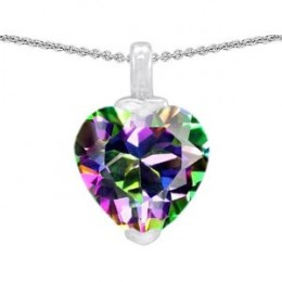 5.00 cttw 14K White Gold Plated 925 Sterling Silver Heart Shaped Genuine Mystic Topaz Pendant
