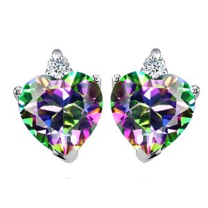 3.10 cttw 14K White Gold Plated 925 Sterling Silver Genuine Heart Shape Mystic Topaz Earrings