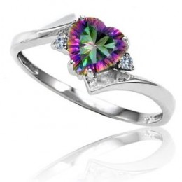 CandyGem 14k Gold Genuine Heart Shape Mystic Topaz and Diamond Ring