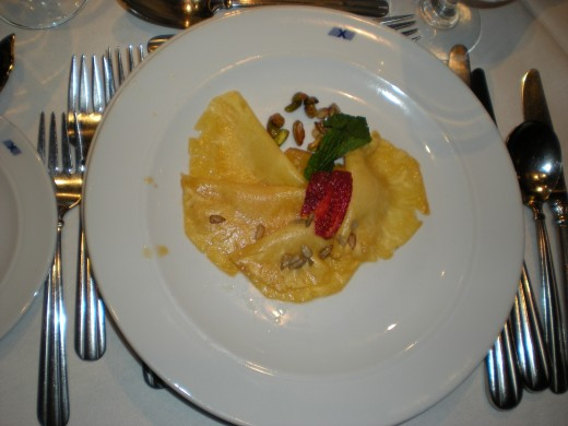 Celebrity Mercury cruises to Alaska from Vancouver. The meals in the Manhattan Restaurant are beautifully presented and served.