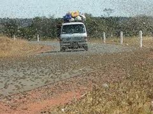 Not one of our pictures but nevertheless shows what you are up against with locusts on the road