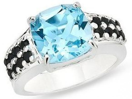 Sky Blue Topaz with Black Sapphire Ring
