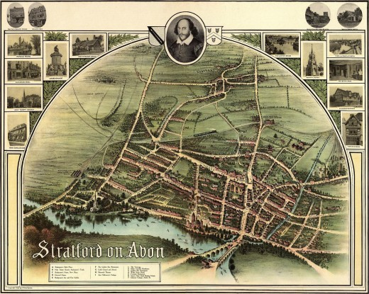 'A birds-eye view of Stratford-on-Avon made by J. Ross Brown in or about 1908' This image ... is in the public domain because its copyright has expired. http://en.wikipedia.org/wiki/File:Stratford_On_Avon_historic_map_1902.jpg