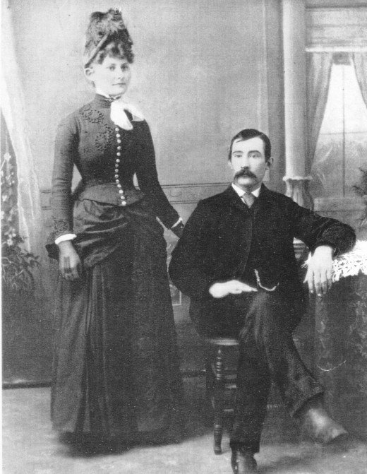 Maud Goodman and Pascal Jarbo wedding photo about 1888 in Dakota Territory