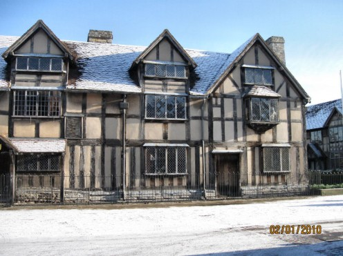 Shakespeare's Birthplace in Winter.  Copyright Tricia Mason. Jan 2010