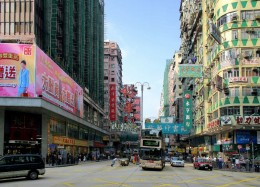 This is Nathan Road - Prudential Hotel is just behind this shot