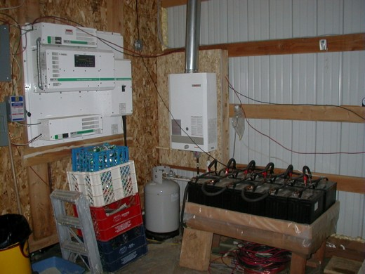 Off Grid Living: Trace Inverter Panel, Bosch Aquastar Tankless Water Heater, 12X Battery Bank - 24 Volt