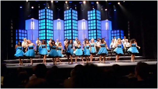 """Vocal Adrenaline, last year's Regional champion, performing """"Rehab"""" by Amy Winehouse"""