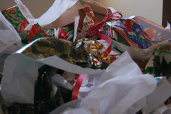 Got this image from an organization urging people not to use wrapping paper at all - this will reduce toxins and non-recyclable materials at the dump.