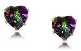 Created Mystic Fire Topaz Heart Shaped Stud Earrings