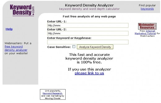 Get your keyword density calculated for free!