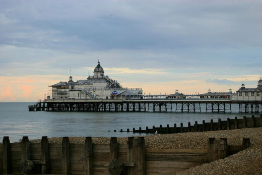 Image of Eastbourne Pier courtesy of Wikipedia. The camera obscura is the dome at the far end of the pier