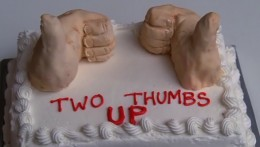 The cake that Terri baked for Henri, who lost both his thumbs in an accident