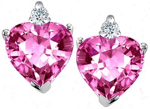 Heart Shape Created Pink Topaz and Genuine Diamonds Earring Studs