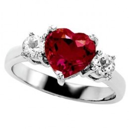 2.60 cttw 925 Sterling Silver 14K White Gold Plated Lab Created Heart Shape Ruby Engagement Ring Size 8