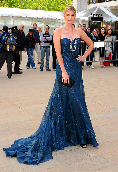 Ivanka Trump Wearing an Evening Gown with a Long Bold Necklace