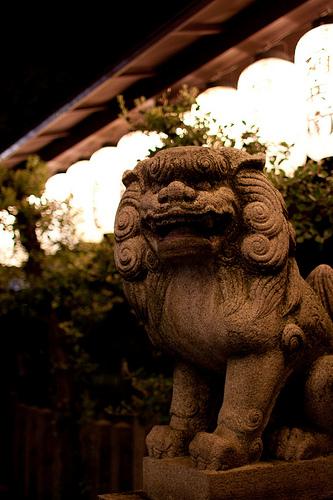 Shishi is stone lion and Komainu is lion-dog