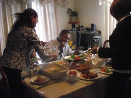 My family helping themselves to the delicious meal