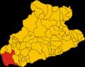 Map location of Ventimiglia in Imperia Province, Italy