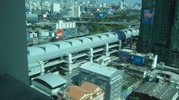 You can see the airport rail link on the 17 floor which is the lobby of the Baiyoke Sky Hotel