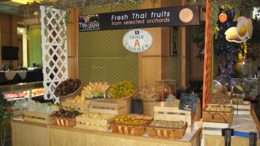 A small fresh fruit stand on 18th floor- a bit expensive by Thai standards though