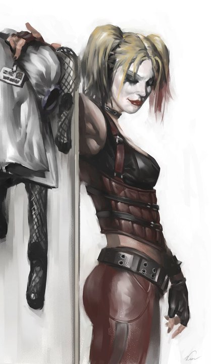 "The preliminary outfit for Harley in the new Batman game, ""Arkham City"""
