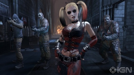 "Recently released screencap from the ""Arkham City"" trailer of the new Harley outfit in action."