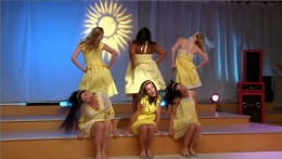 The girls performing their mash-up in the Glee-off