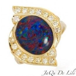 Jaqu De Lili! Made in USA Vibrant Ring With 3.24ctw Super Clean Diamonds and Australian Opal Triplet Made of 14K Gold (Size 7)