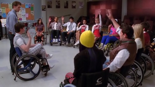 When Kurt told everyone to raise their right hand, Brittany raised her left instead :)