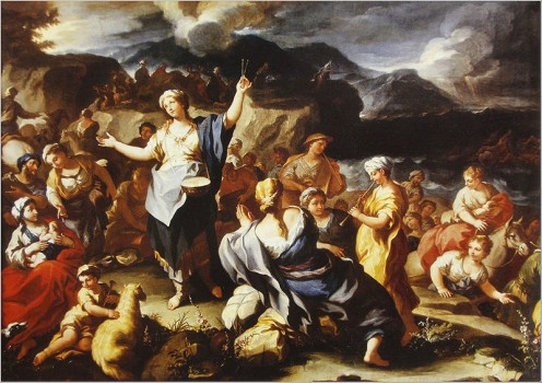 Song of Miriam - Celebration after the Crossing of the Red Sea - by Paulo Malteis, Italy 18th century.
