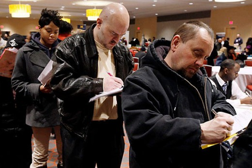 A line of jobseekers at a job fair