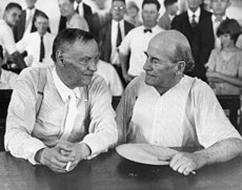 Clarence Darrow and William Jennings Bryan Chat in court during Scopes Trial