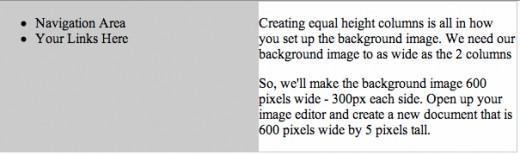 Create equal columns