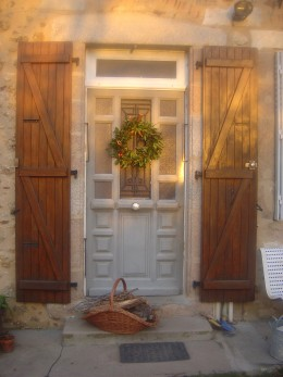 Sunshine on the front door at Christmas
