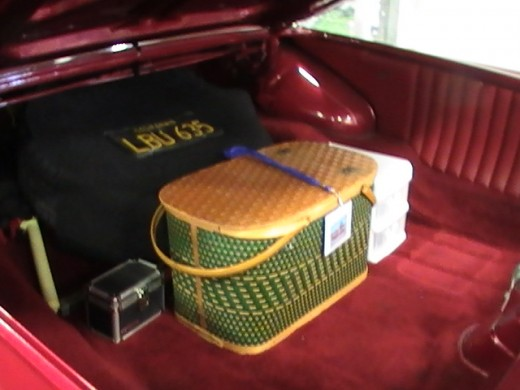 Classics and Chrome Car Show Loves Park Illinois photo of wooden picnic basket in green