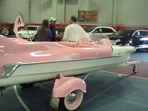 pink and white boat