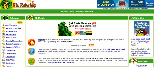 Mr Rebates offers free cash back rebates and coupon codes at more than 2000 online retailers.