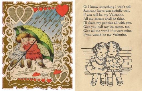 kids with umbrella card (late 1930), front and inside with poem,source: Barbara Crews' Vintage Collection