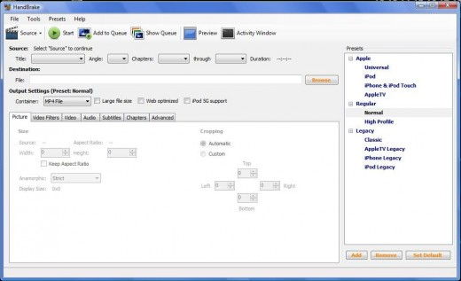 Handbrake main screen