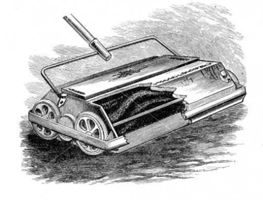 Here is a photo of a very early Melville Bissell Carpet Sweeper. How would you like to use that to clean your carpets with.