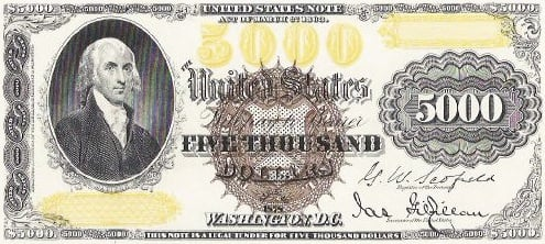I thought this an interesting 5000 dollar legal tender note from 1878.